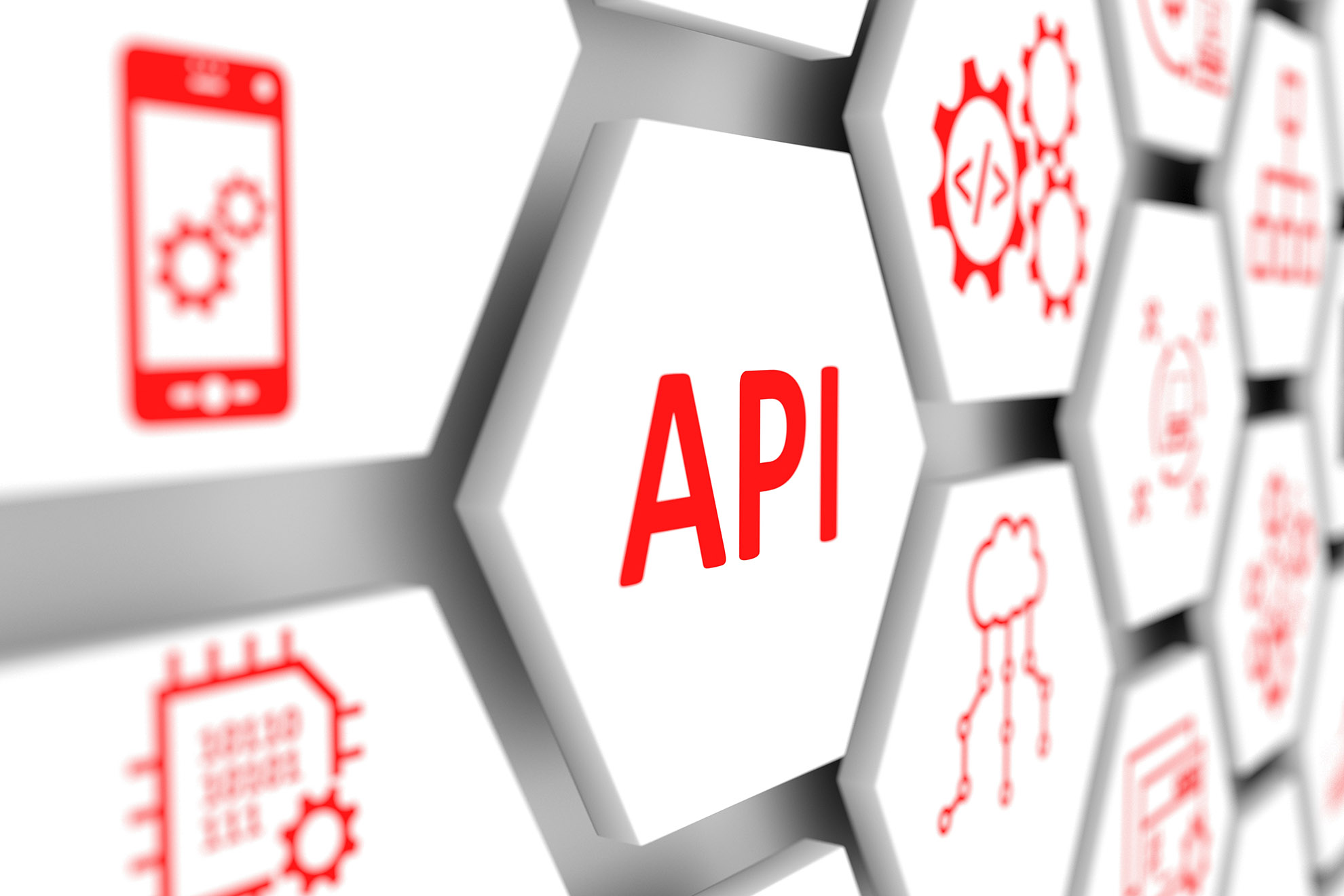 API concept cell blurred background 3d illustration